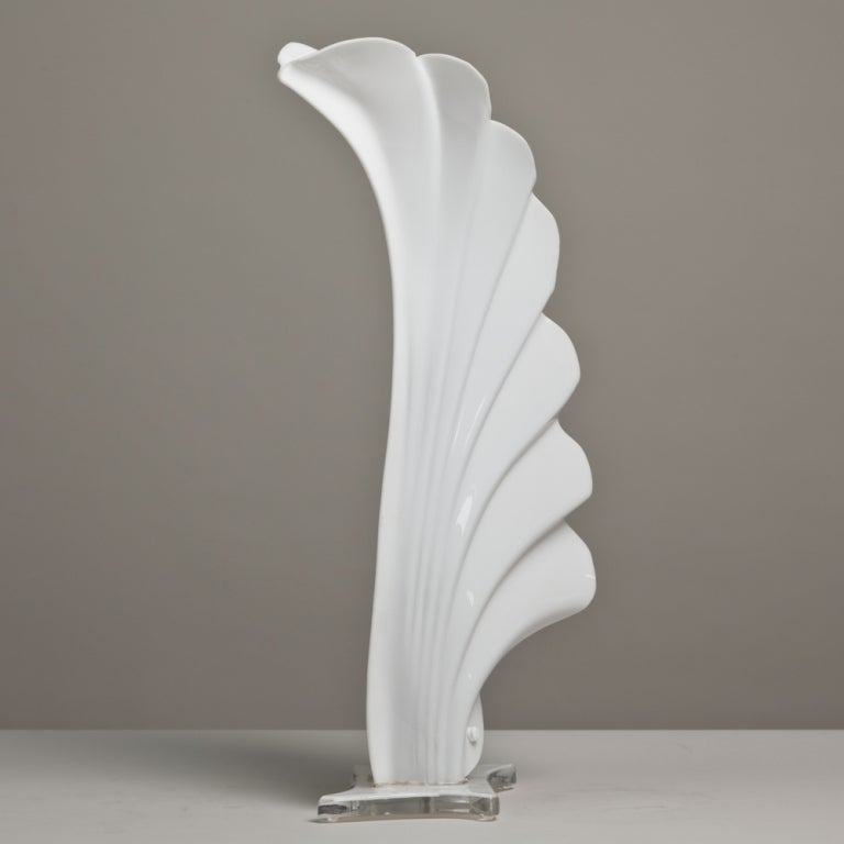 A Large Rougier Shell Shaped Table Lamp Canada late 1970s 3