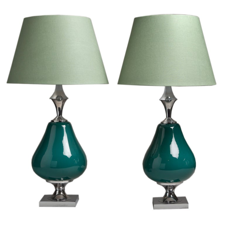 Unusual Pair of Teal Ceramic and Nickel Table Lamps, 1960s