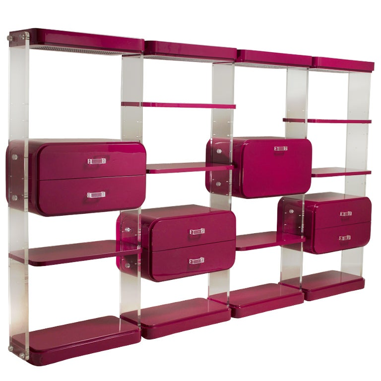 Large ruby lacquered and lucite tag re 1980s at 1stdibs - Etagere cases carrees ...