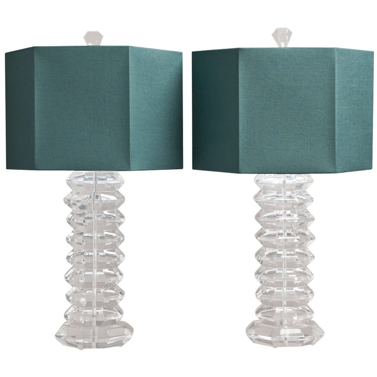 Pair of Heavy Octagonal Faceted Lucite Table Lamps, 1970s