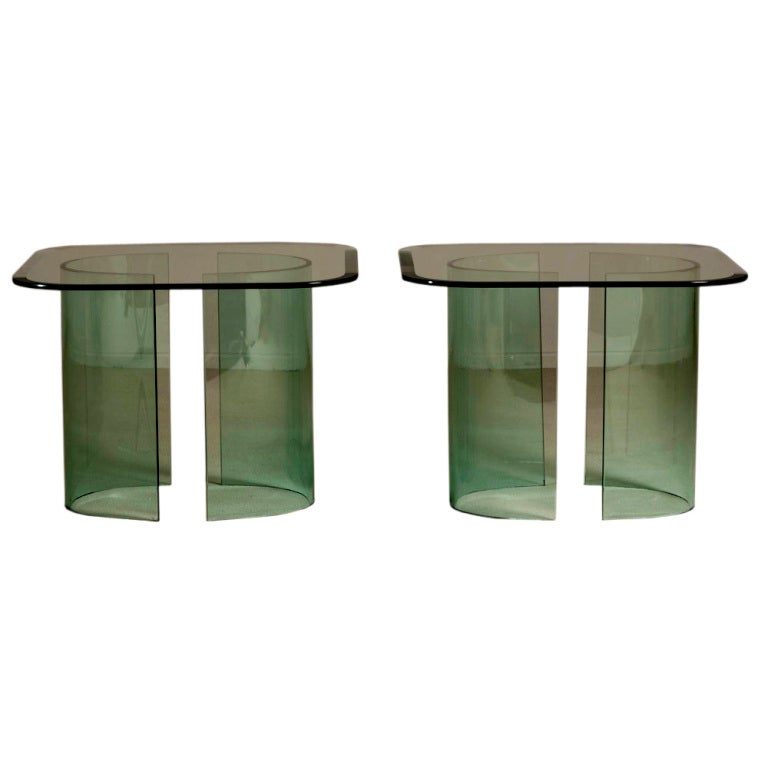 A Pair Of Italian Glass Side Tables 1970s At 1stdibs