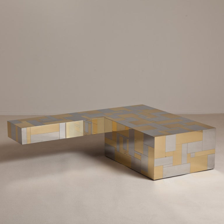 A Large 39 L 39 Shaped Cityscape Coffee Table By Paul Evans At 1stdibs