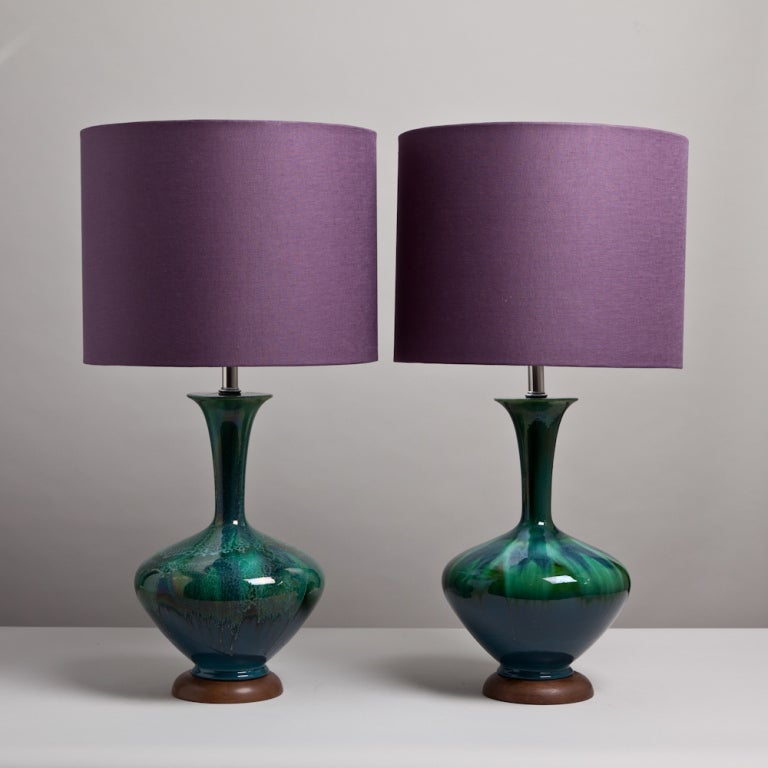 A Pair of Blue and Green Glazed Ceramic Table Lamps 1960s image 2