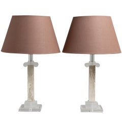 Pair of Faux Marble and Lucite Column Table Lamps, 1970s