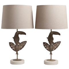 A Superb Pair of Metal Toucan Depicted Table Lamps