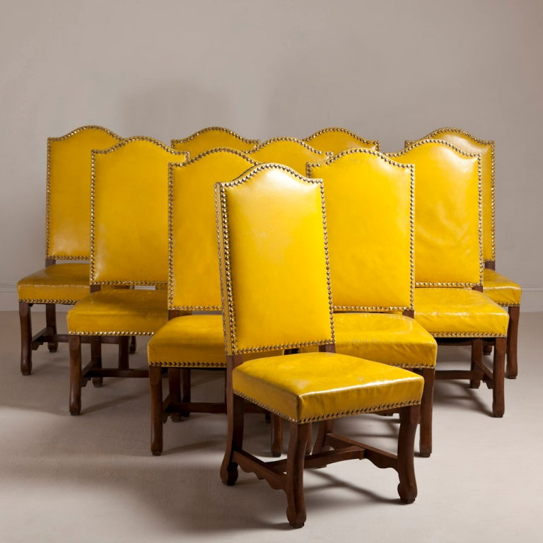 Yellow Dining Chairs: A Set Of Six Spanish Yellow Leather Upholstered Chairs