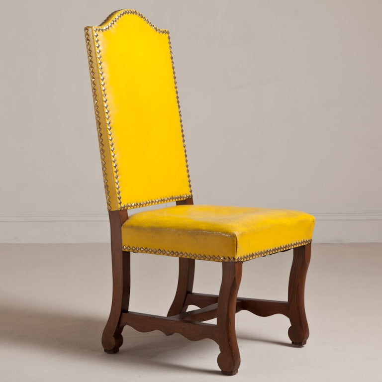 Nice A Set Of Six Spanish Yellow Leather Upholstered Chairs 1940s 2
