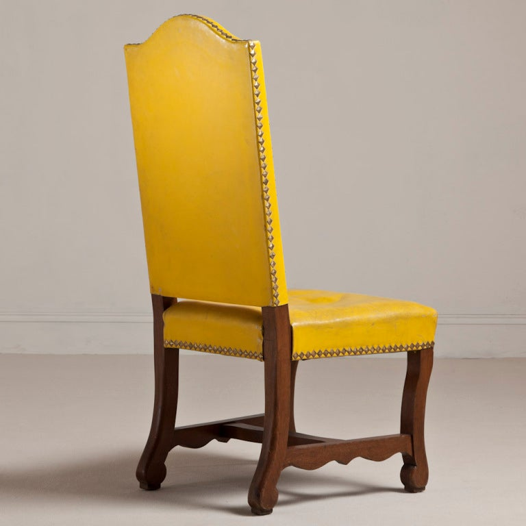yellow dining chairs a set of six yellow leather upholstered chairs 11663