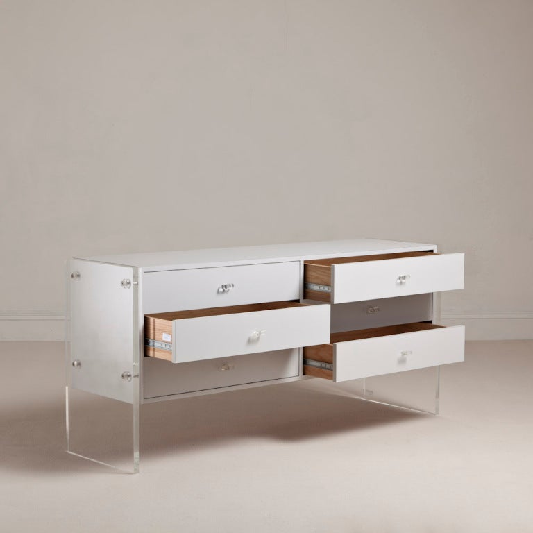 A 1970s Six Drawer Buffet with Lucite Slab Ends and Handles with Original Grey Mica Veneer