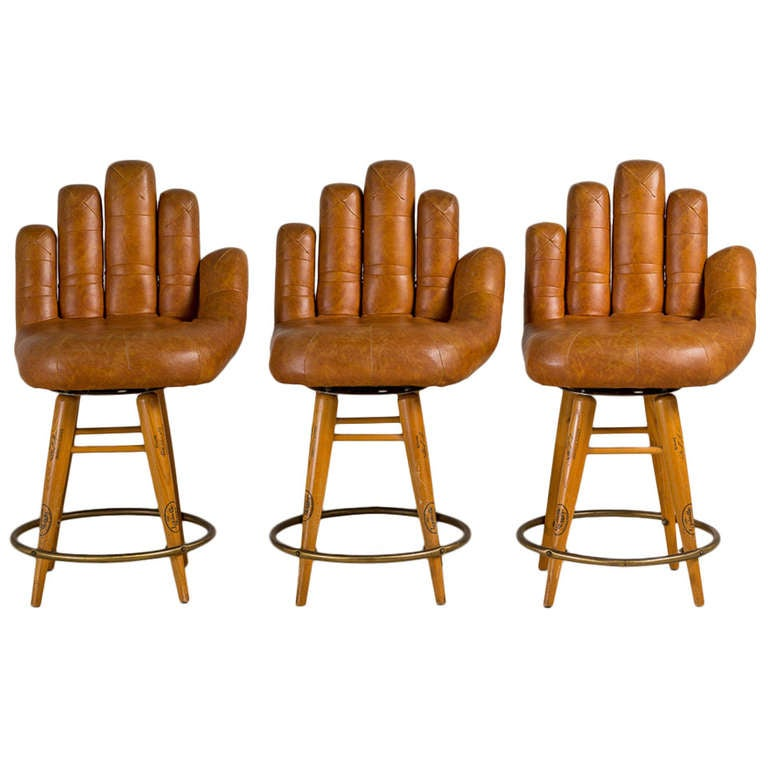 Set Of Three Leather Baseball Glove Swivel Bar Stools Signed For