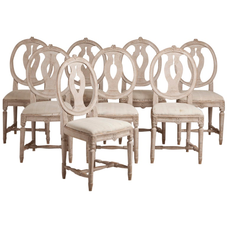 Dining Room Set With Bench Seating Painted Tongue And: A Set Of 8 Swedish Painted Dining Chairs Circa 1920 At 1stdibs