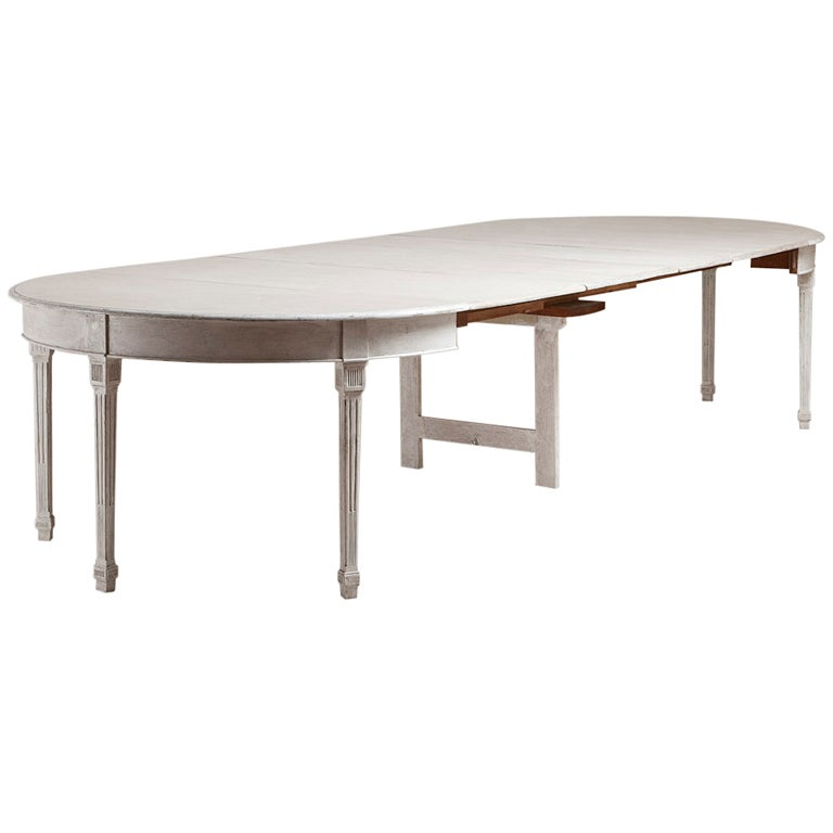A Large Danish Painted Extendable Dining Table At 1stdibs