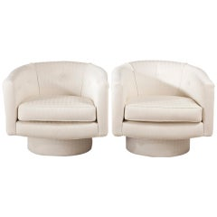 Set Of Six Contemporary Italian Quilted Swivel Tub Chairs