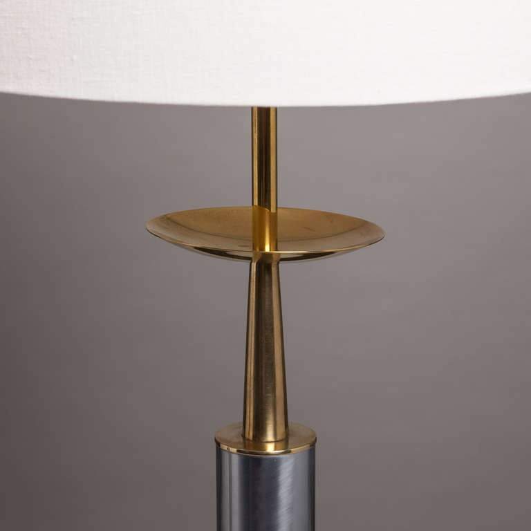 A Pair Of Brass And Nickel Column Table Lamps By Stiffel