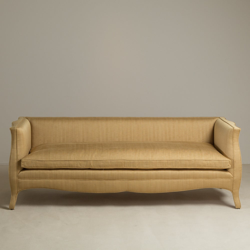 A Standard High Back French Style Upholstered Sofa By Talisman Bespoke.  Unusual And Elegant,