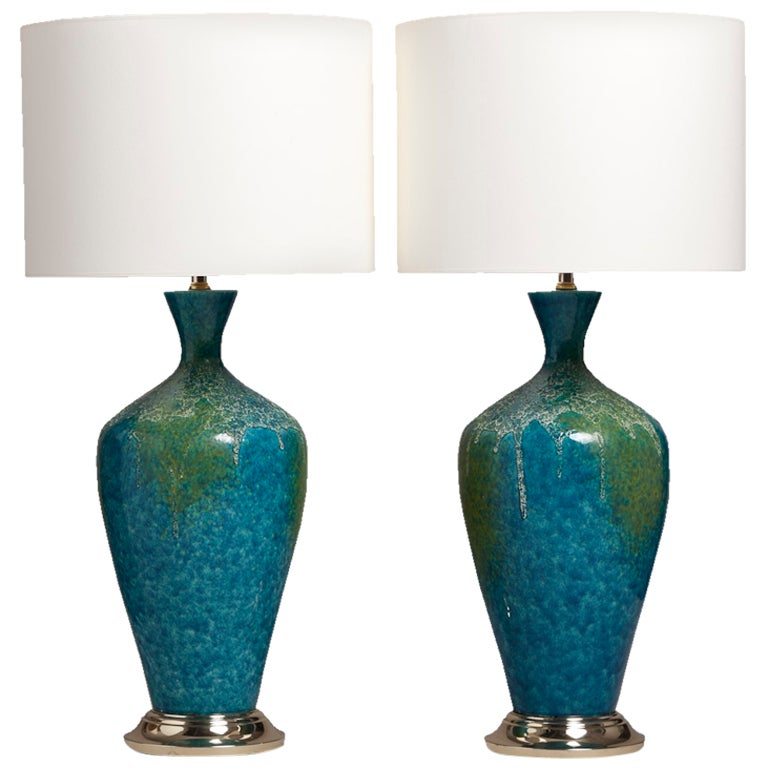 Blue ceramic table lamps - Pair Of Blue And Green Textured Ceramic Table Lamps At 1stdibs