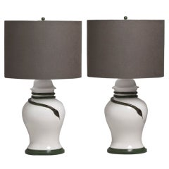 A Pair of Glazed Ceramic Table Lamps With Snake Detail