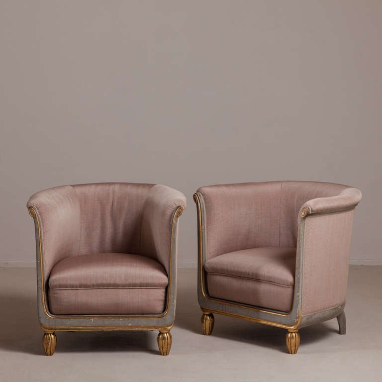 a pair of small french tub chairs 1920s upholstered by 17210 | l63992818 a l