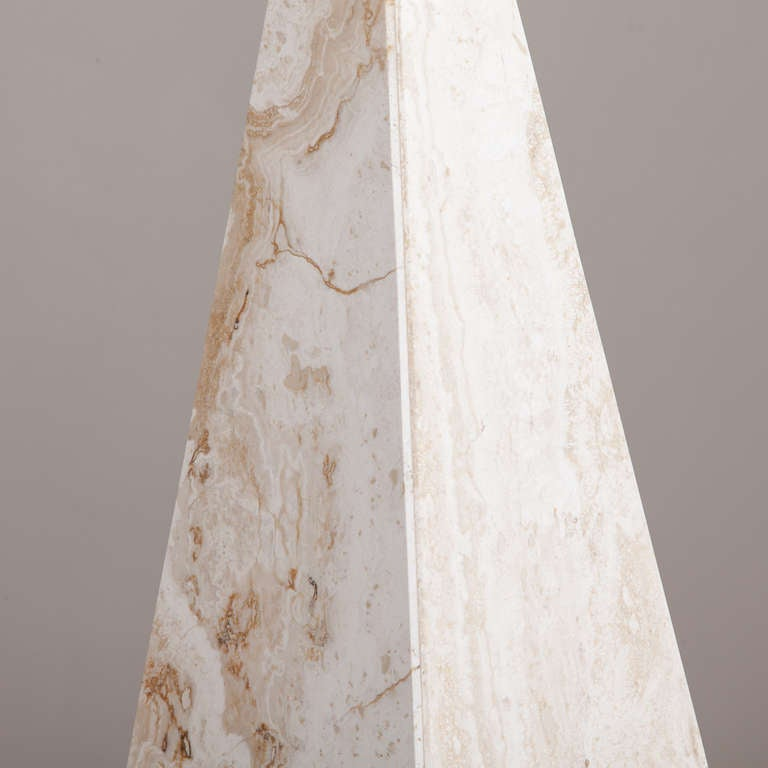 Unknown Pair of Marble Obelisk Sculptures, 1980s For Sale