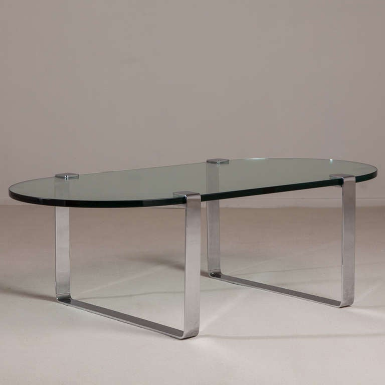 An Oval Chromium Steel And Glass Coffee Table 1970s At 1stdibs