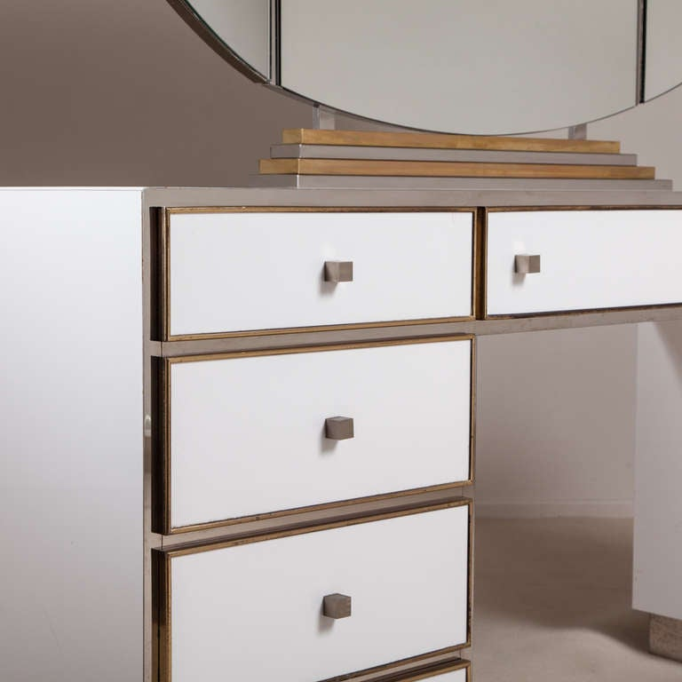 A Large Dressing Table With Illuminated Vanity Mirror