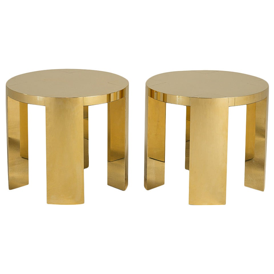 Pair of Polished Brass-Wrapped Side Tables by Talisman Bespoke