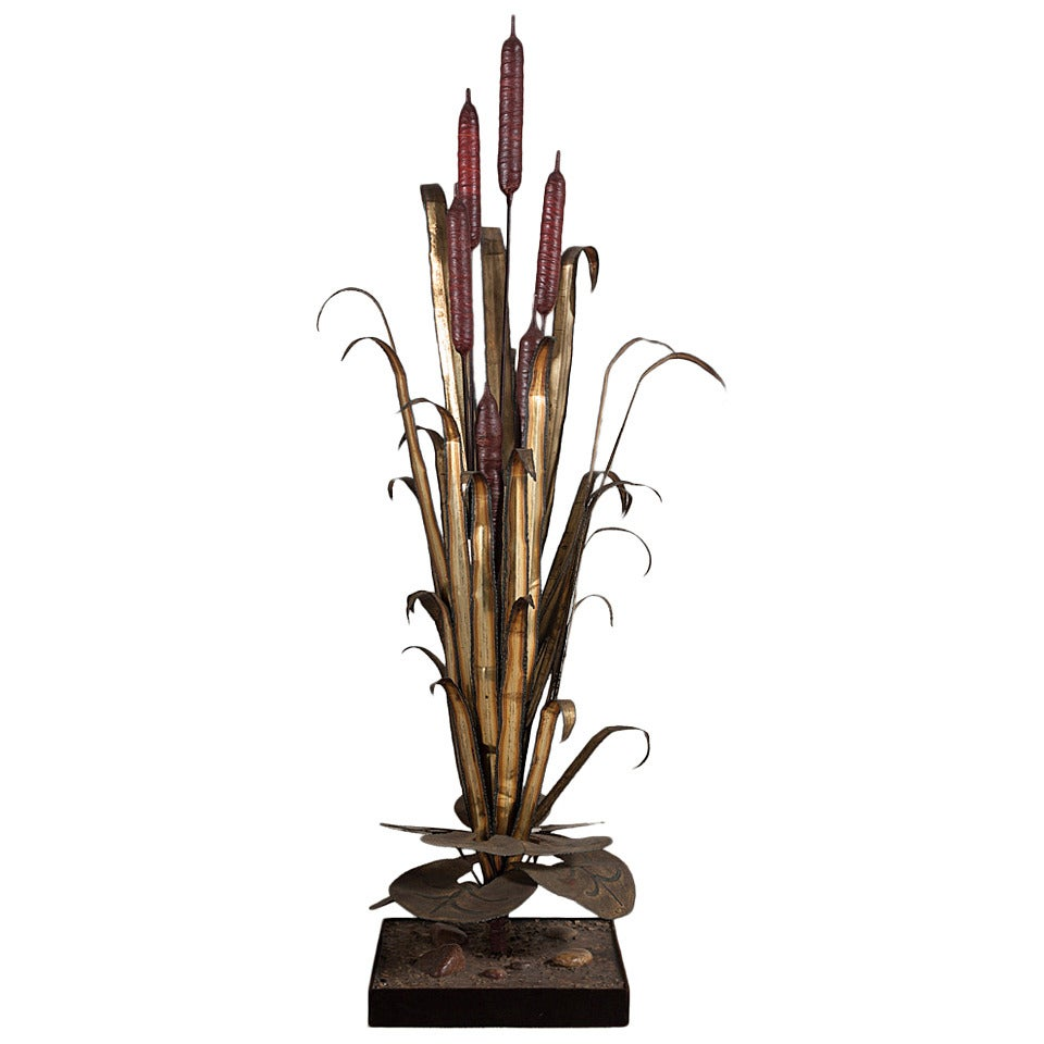 Large Floor Standing Copper Reed Lighting Sculpture 1970s For Sale At 1stdibs