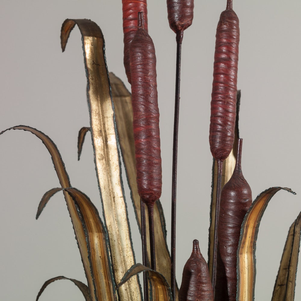 A Large Copper Reed Floor Sculpture in the manner of Silas Seandel 1970s