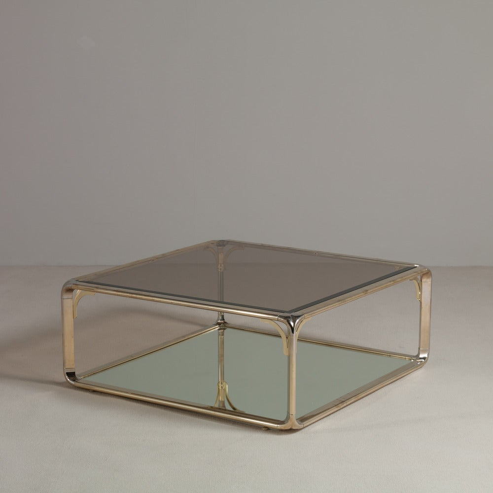 Artimeta Attributed Square Metal And Glass Coffee Table At: Square Brass And Chrome Coffee Table, 1970s At 1stdibs