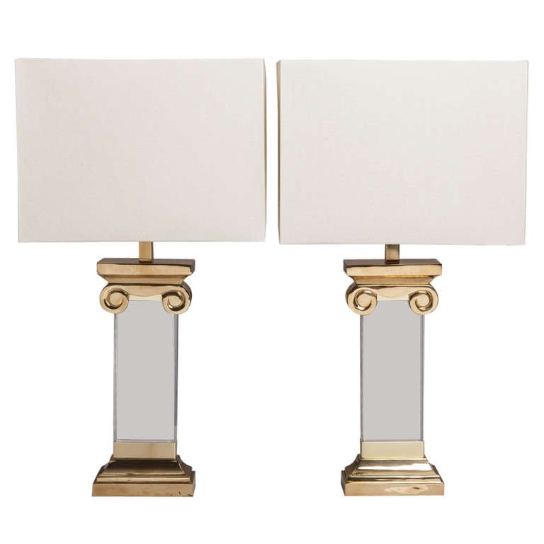 Pair of Neoclassical Inspired Lucite and Brass Table Lamps, 1970s