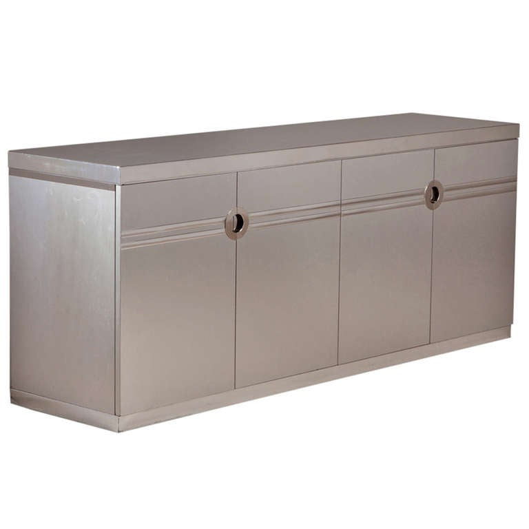 A pierre cardin brushed steel four door sideboard 1980s at for Sideboard 2 50 m