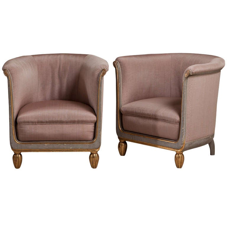 A Pair of Small French Tub Chairs 1920s Upholstered By Talisman at ...