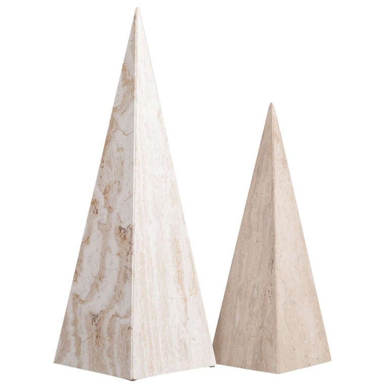Pair of Marble Obelisk Sculptures, 1980s For Sale