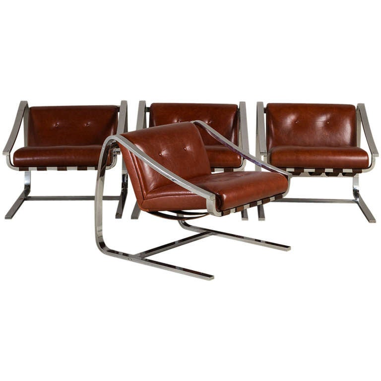 Cantilevered Steel & Leather Chairs, manner of Charles Gibilterra for Brueton