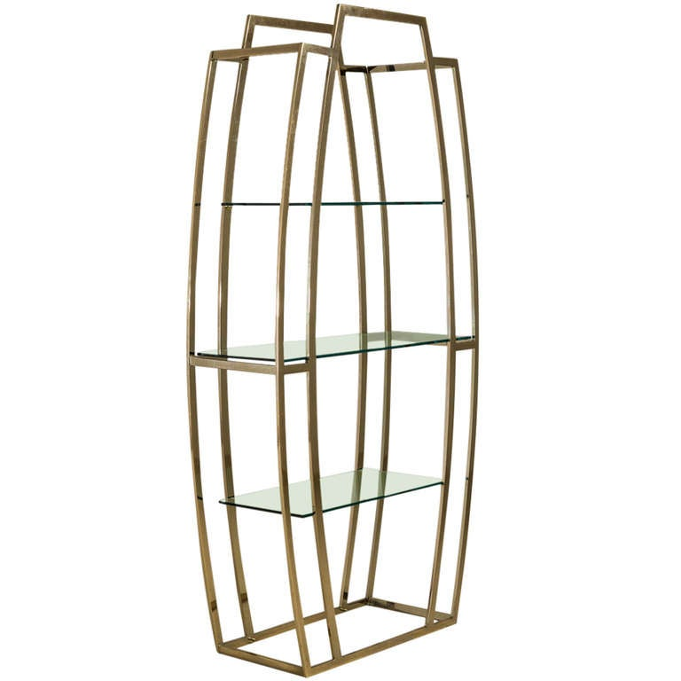 art deco style brass plated etagere at 1stdibs. Black Bedroom Furniture Sets. Home Design Ideas