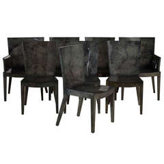 Set of Eight Grey Lacquered Goatskin Chairs, Pair of Carvers Six Side Chairs