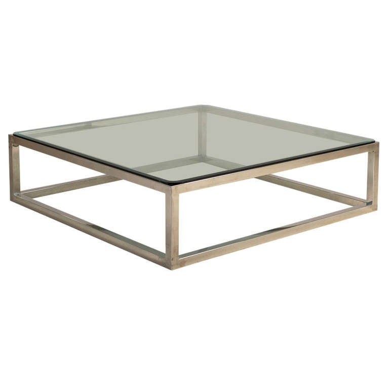 Enormous Nickel Framed Coffee Table With Glass Top At 1stdibs