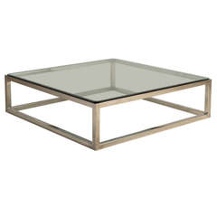 Enormous Nickel Framed Coffee Table with Glass Top