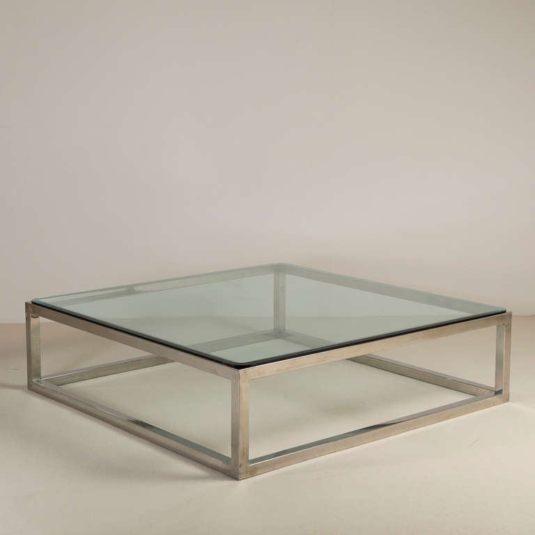 Enormous nickel framed coffee table with glass top for for 52 glass table top