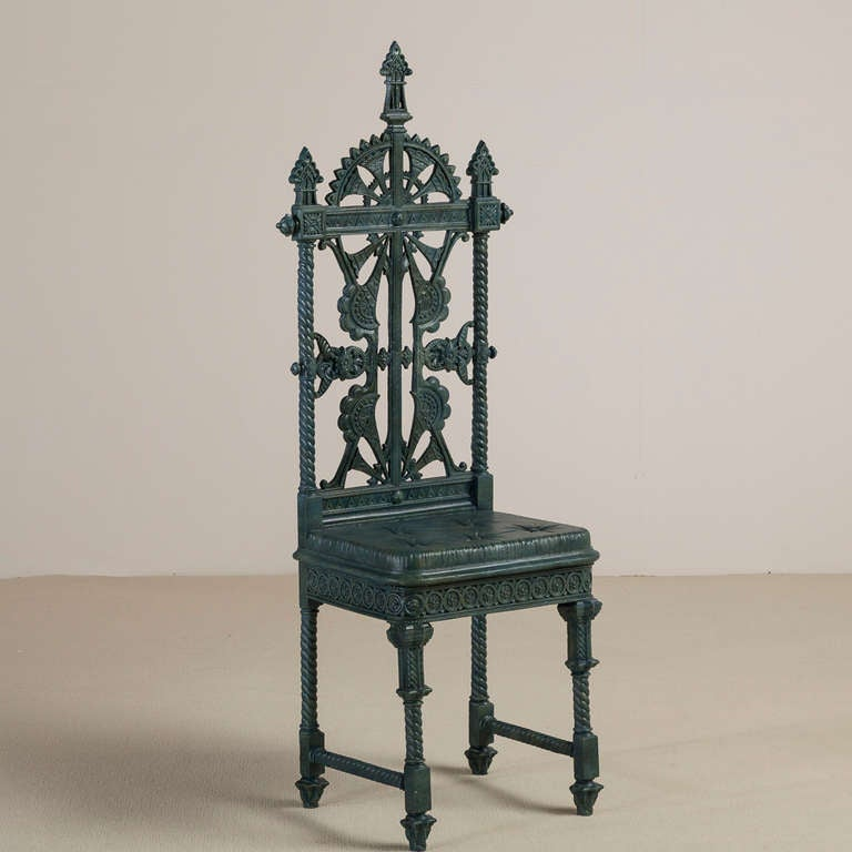 A Coalbrookdale Cast Iron Hall Chair Designed By
