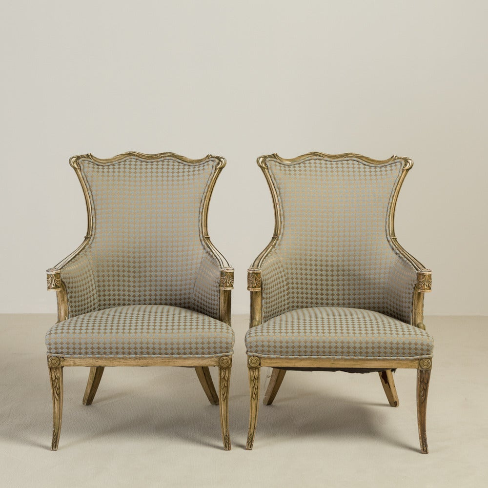 1950s Lounge Armchairs Re Upholstered In Multicolored: Pair Of Hollywood Regency Wingback Armchairs, 1950s At 1stdibs