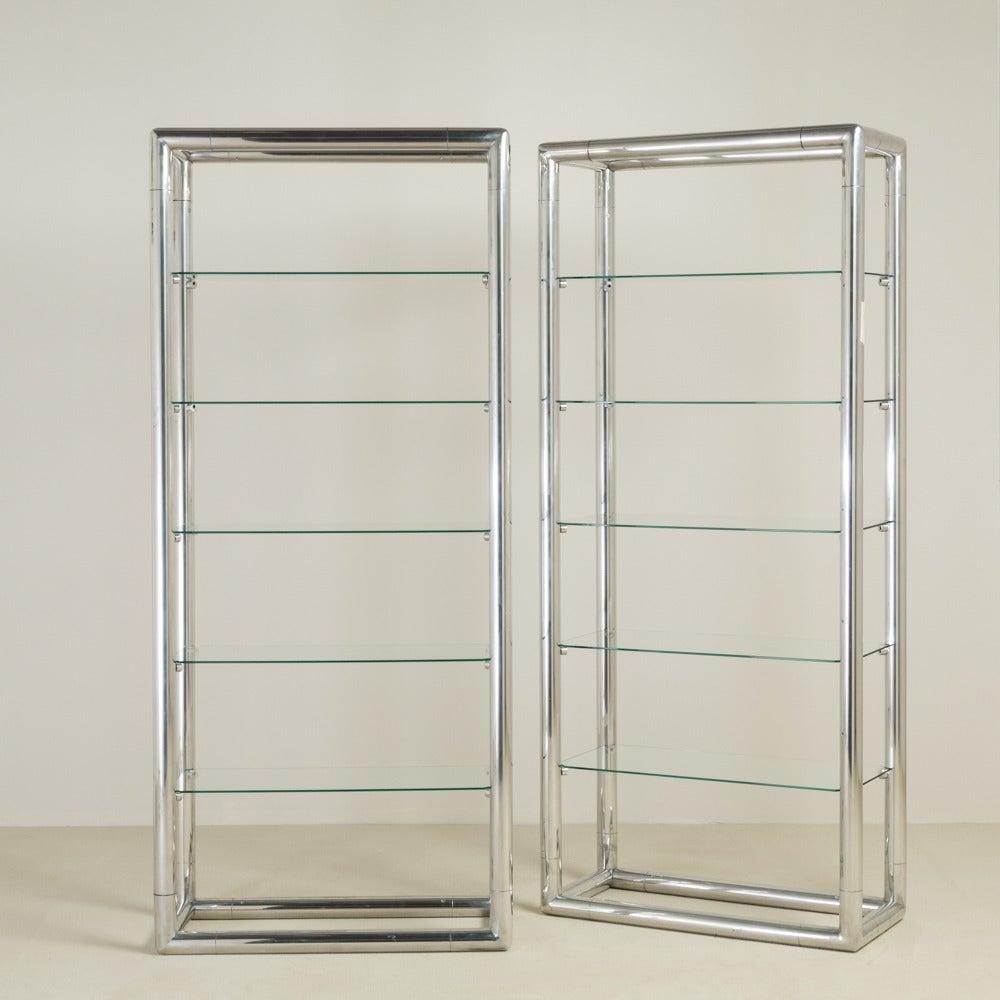 Pair of tubular aluminium framed etageres 1960s at 1stdibs - Etagere aluminium design ...