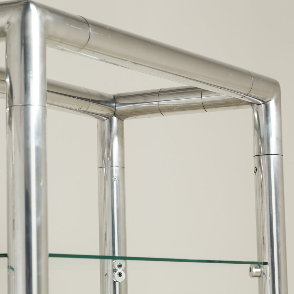 pair of tubular aluminium framed etageres 1960s at 1stdibs. Black Bedroom Furniture Sets. Home Design Ideas