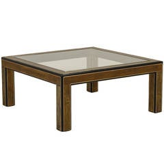 Square Mastercraft Acid-Etched Brass and Ebonized Coffee Table