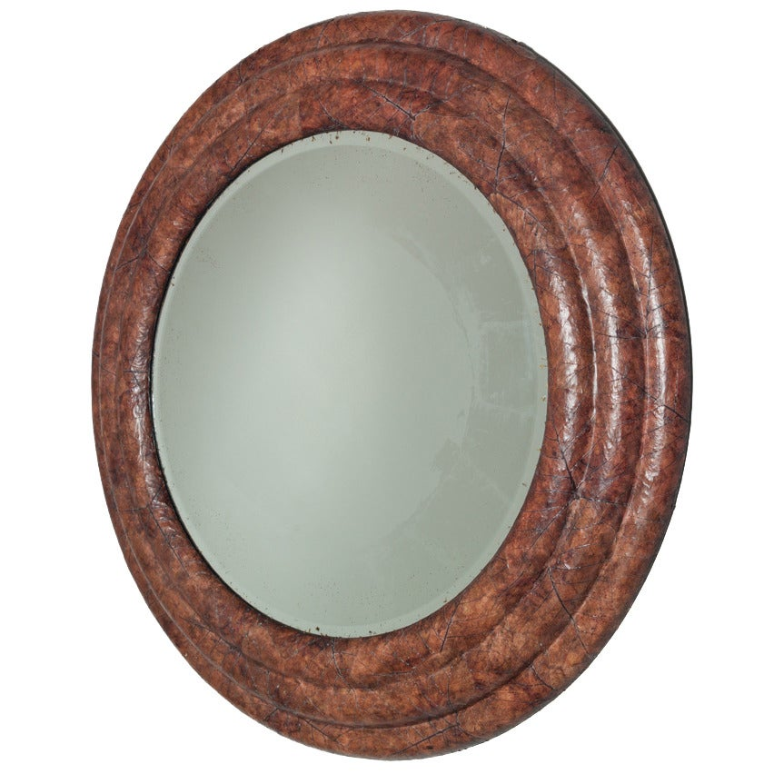 Large Circular Tobacco Leaf Veneered Mirror, 1970s