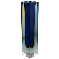 Tall Square Murano Sommerso Glass Vase