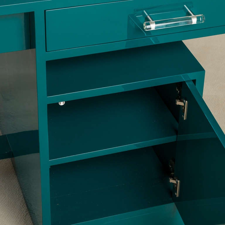 Teal Lacquered 1950s Desk at 1stdibs
