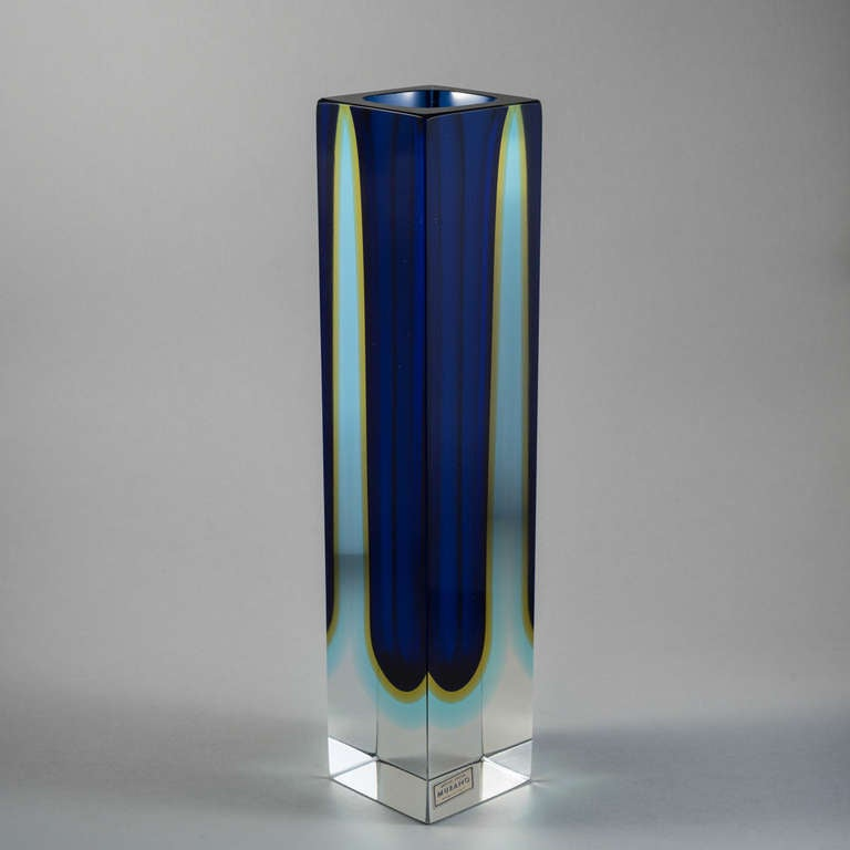 Tall Square Murano Sommerso Glass Vase For Sale At 1stdibs