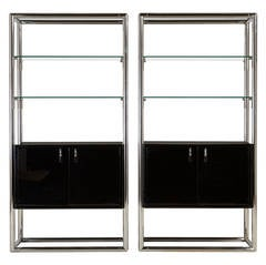 Pair of Chrome and Jet Black Lacquered Etageres, 1950s