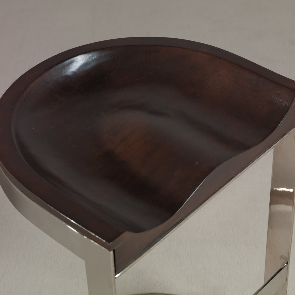 Pair Of Chromium Steel Based Bar Stools With Moulded Wood